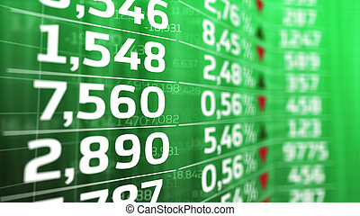 Stock market price on a green display