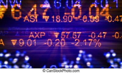 stock market quotes orange blue. Computer generated seamless loop background. HD 1080 progressive