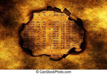 Stock market report on burning paper hole