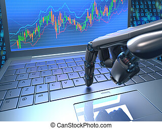 Stock Market Robot Trading - Robot hand, ordering on a...