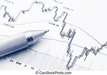 stock market, schaubild, mit, stift