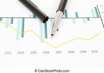 stock market, schaubilder, mit, stift