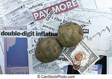 Stock Market and potato - concept for inflation and weak...