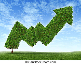 Stock market growth and success with a growing green tree in the shape of a stock investment graph showing the potential value of equities in trading and resulting in uptrend financial successful business wealth reaching for high goals.