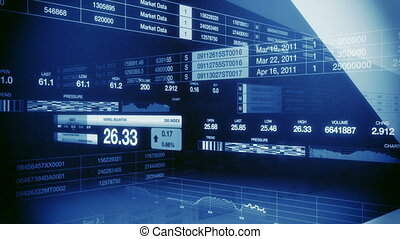 Looping animation of generic stock market tickers displaying different types of information while sliding and crossing one another in an abstract but formal looking environment.