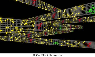 Stock market collapse concept with tickers that slide, dissolve and flat-line on the boards.