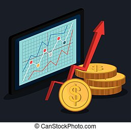 Stock market with statistics graphic design, vector...