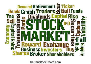 Stock Market word cloud on white background