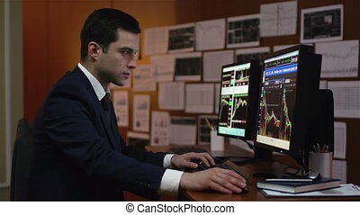 Stock Market Worker - Young businessman being concentrated...