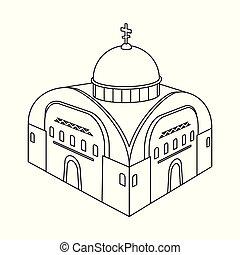 stock., orthodoxe, collection, vecteur, illustration, église, chapelle, logo., icône