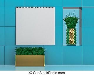 Stock paper cover Wall calendar. Mockup on blue background. 3D illustration.