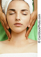 stock photo attractive lady getting spa treatment in salon, ...