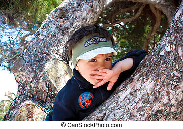 Stock Photo -  boy on tree