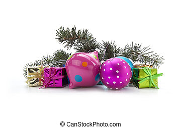 Stock Photo: christmas decoration on a white background
