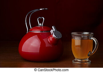Stock Photo of a kettle and a cup of tea