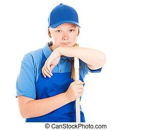Stock Photo of Bored Teenage Worker
