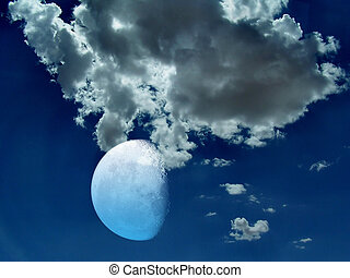 Stock photo of mystical night sky and moon - Spiritual image...