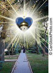 Stock Photo of Russian Monastery alley with orthodox church