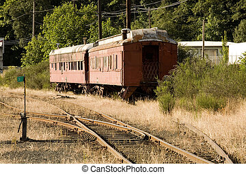 Stock Photo of Two Old Red Train Cars