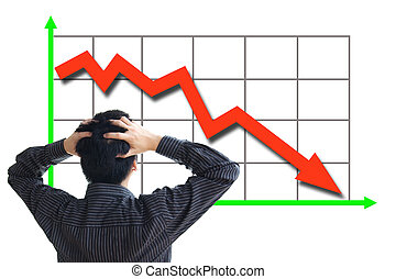 Stock price declining - Frustrated business man looking at ...
