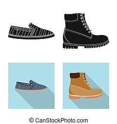 stock., signe., collection, bitmap, conception, chaussures, pied, chaussure, icône