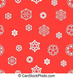 Stock snowflake vector seamless pattern on a red background