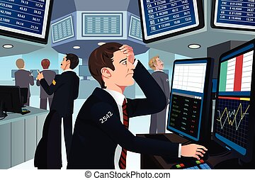 Stock trader in stress - A vector illustration of stock...