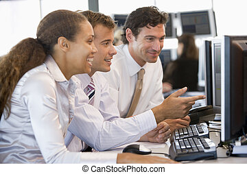 Stock Trader Team At Work