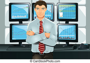 Stock trader - A vector illustration of a stock trader in...