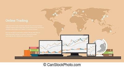 stock trading online - flat style web banner on stock...