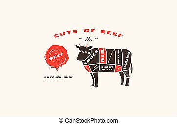 Stock vector beef cuts diagram in flat style