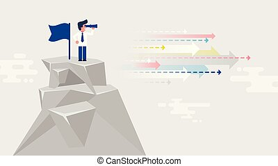 businessman standing on top of mountain