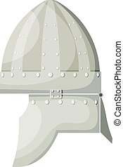 Stock Vector Cartoon ancient metal helmet with rivets on white background. Element warrior