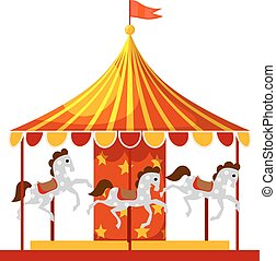 Stock Vector Cartoon children's fun colorful carousel with horses. Children playing a traditional carousel