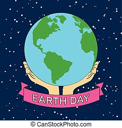 stock vector cartoon earth illustration planet smile. earth day concept human hands holding floating globe in space save our planet flat style vector.