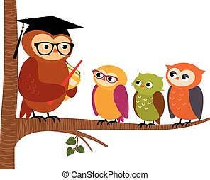 Owl teacher and his students