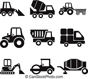 Stock vector construction machine pictogram icon set