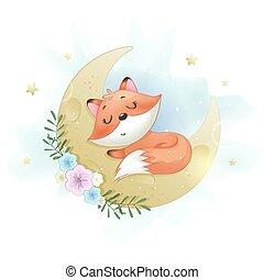 Cute little foxy sleeping on the Moon
