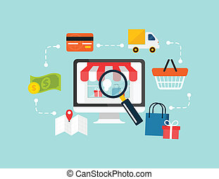 Stock vector e commerce online shopping icon set