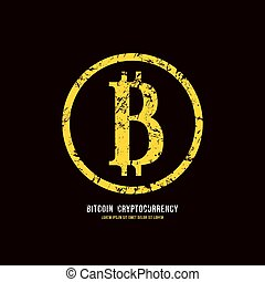 Stock vector emblem of bitcoin cryptocurrency