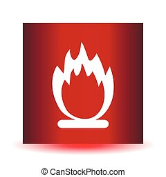 Stock Vector fire icon on a red background