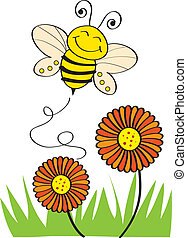Bee - Stock Vector Illustration: Bee Flying