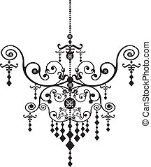 Chandelier - Stock Vector Illustration: Black Chandelier