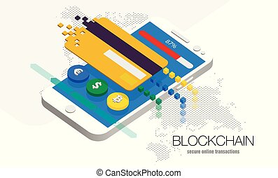 illustration blockchain cryptocurrency currency - Stock...