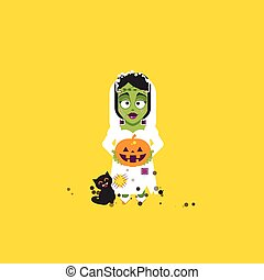 illustration Bride of Frankenstein monster character for halloween in a flat style