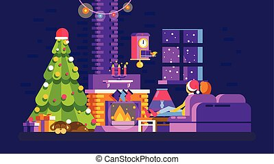 Christmas evening home interior, lovers sit on couch in...