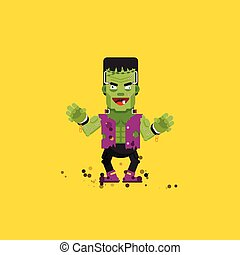 illustration Frankensteins monster character for halloween in a flat style