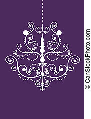 Stock Vector Illustration: Invitation Panel with Chandelier silhouette
