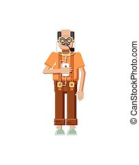 illustration isolated European elderly retiree, gray hair, mustache, in glasses, pipe in mouth, old man with smartphone