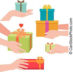 Stock vector illustration of a hand giving a gift box isolated on white background.eps